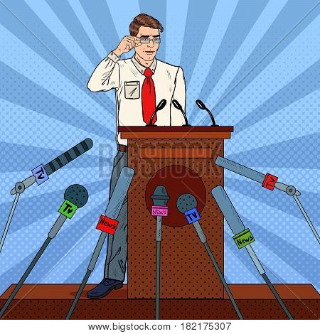 Pop Art Businessman Giving Press Conference. Mass Media Interview. Vector illustration
