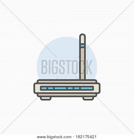 Wifi router colorful icon. Vector wireless modem creative symbol or design element