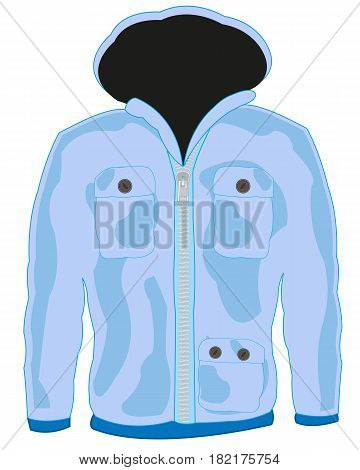 Upper cloth blue hooded jacket on white background