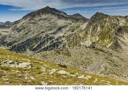 Amazing view of Kamenitsa peak from Dzhano Peak, Pirin mountain, Bulgaria