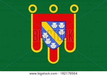 Flag of Cantal is a department in south-central France and is part of the current region of Auvergne-Rhone-Alpes with its capital at Aurillac. Vector illustration