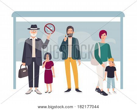 Passive smoking concept. Man smokes at a bus stop near non smoking people. Colorful vector illustration in flat style