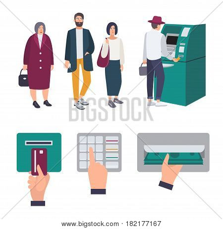People queue near ATM. Operations Insert credit card, enter pin code, receiving money. Set of colorful images in flat style