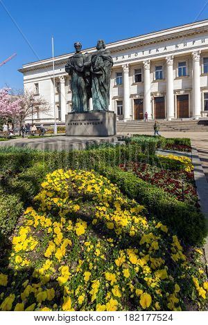 SOFIA, BULGARIA - APRIL 1, 2017: Spring view of National Library St. Cyril and St. Methodius in Sofia, Bulgaria