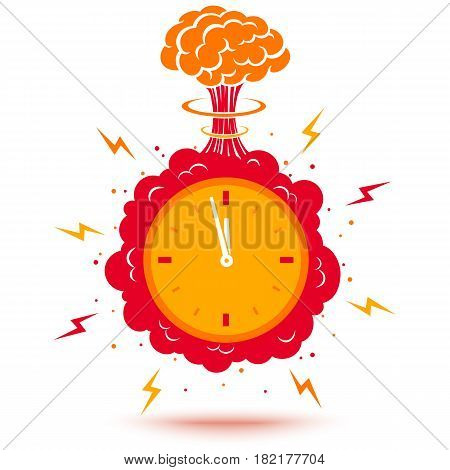Vector illustration of a bomb and with a timer. Clock with atomic bomb.