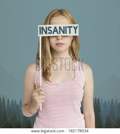 Caucasian Adult woman insanity frustration