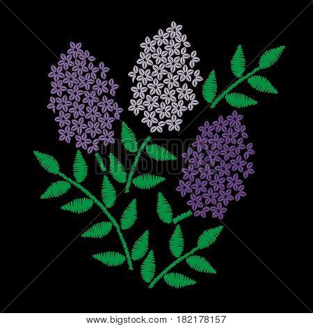 Embroidery stitches imitation branch of lilac with green leaf. Vector embroidery floral folk pattern with flower on the black background.