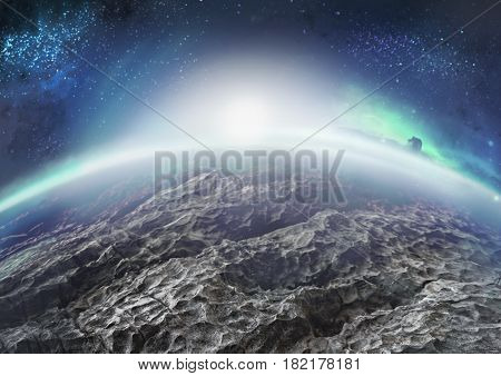 Extraterrestrial landscape of distant icy planet with nebulae and one moon on its sky