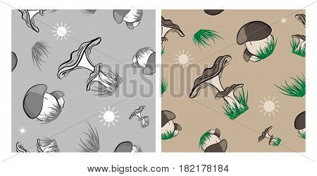 Forest mushrooms vector seamless set. Seamless patterns with mushrooms and green grass over white. Eps10