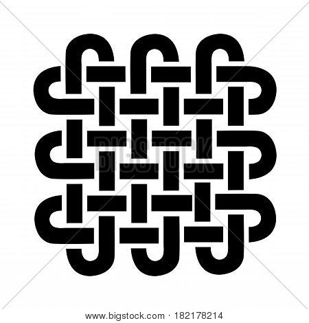 Celtic style square shape symbol based on eternity knot in black on white background  inspired by Irish St Patrick's Day, and Irish and Scottish carving art