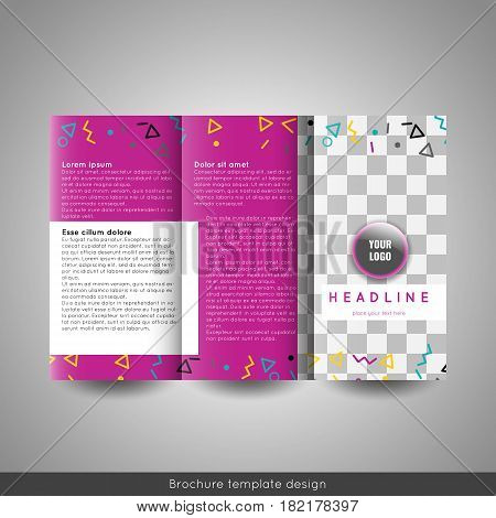 Corporate trifold brochure template design. With world map infographic element. Stock vector.