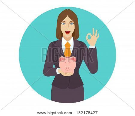 Businesswoman holding a piggy bank and showing a okay hand sign. Portrait of businesswoman in a flat style. Vector illustration.