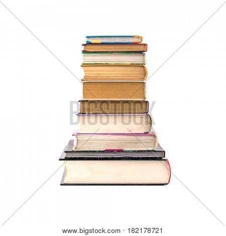 many different books isolated on white