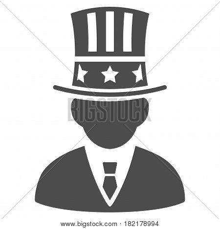 American Capitalist vector pictogram. Illustration style is a flat iconic gray symbol on a white background.