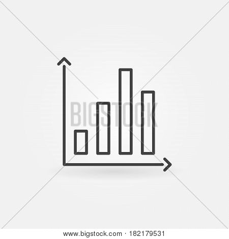 Bar chart icon - vector minimal business graph sign or design element in thin line style