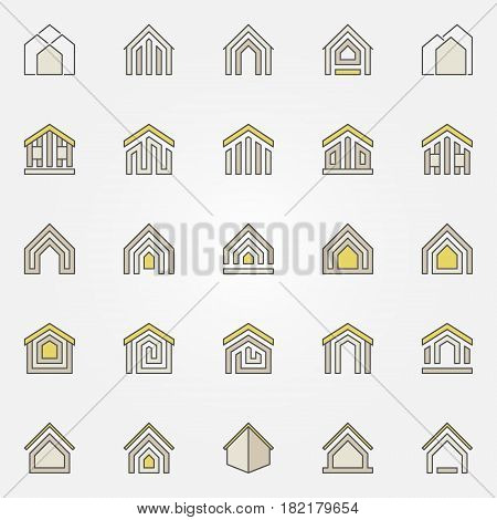 House colorful icons. Vector property and real estate abstract symbols or logo elements. Home concept sign
