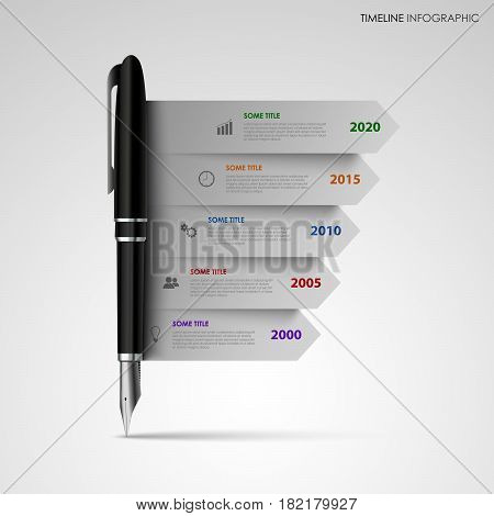 Time line info graphic with gray stripes on black pen vector eps 10