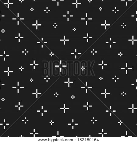 Seamless minimalistic pattern with crosses. Memphis design 80-90s.