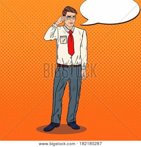 Pop Art Shocked Businessman in Eyeglasses. Vector illustration