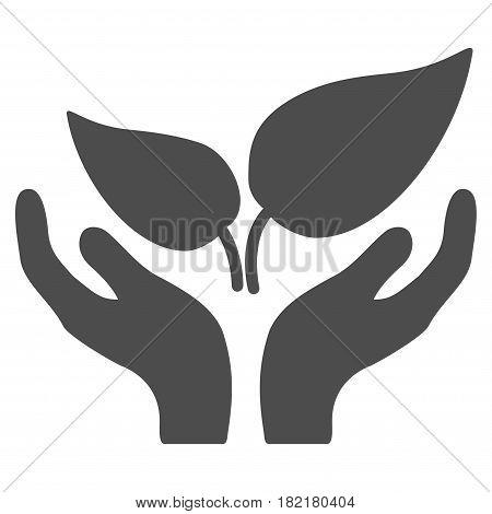 Eco Startup Care Hands vector icon. Illustration style is a flat iconic gray symbol on a white background.
