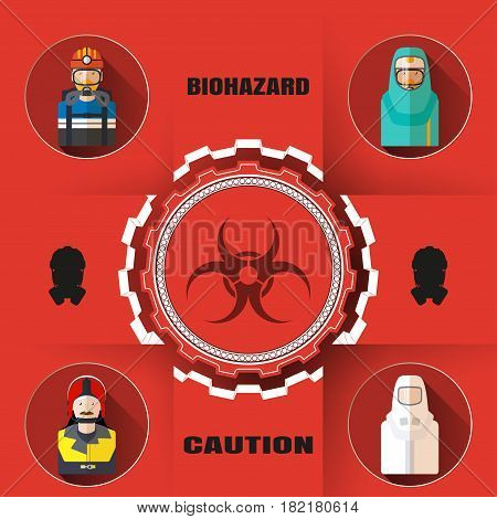 Vector poster of biohazard warning and rescue with paper label mask silhouettes avatars of different rescue professions and text on the red background and shadow.