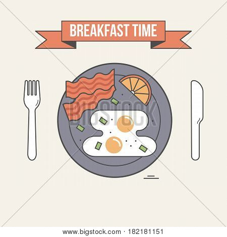Breakfast time vector illustration. Table setting plate with fried egg bacon and lemon fork and knife