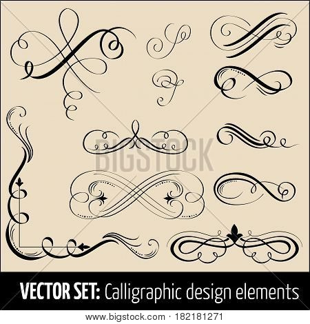 Vector set of calligraphic and page decoration design elements. Elegant elements for your design.