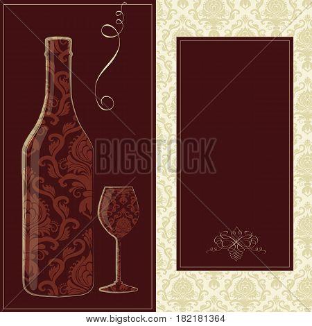 Vector wine card. Creative wine card for menu. Design template