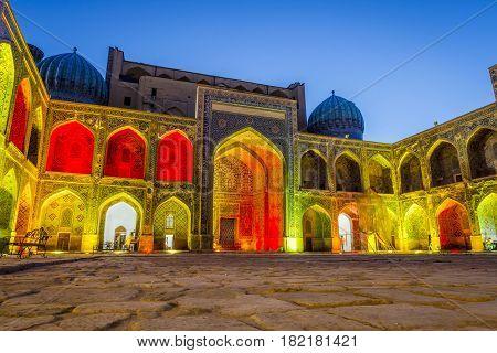 Sher-dor Madrasah At Night, Samarkand, Uzbekistan