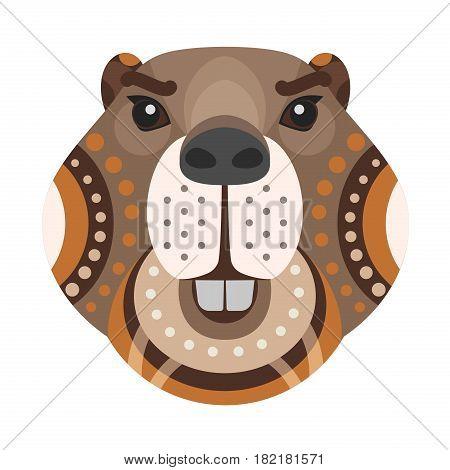 Beaver Head Logo. Vector decorative Emblem isolated