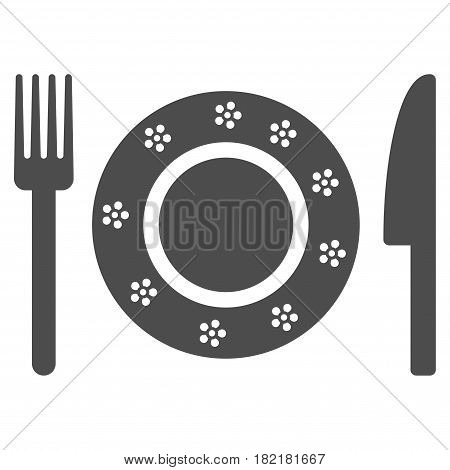 Restaurant Tableware vector pictograph. Illustration style is a flat iconic grey symbol on a white background.