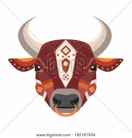 Bull Head Logo. Vector decorative Emblem isolated