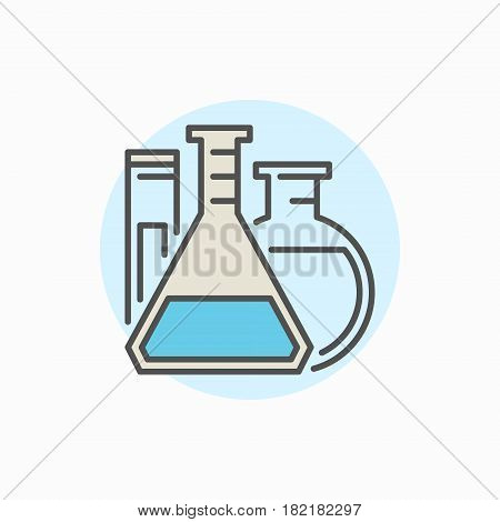 Flasks and test tube colorful icon. Vector laboratory glassware concept symbol or logo element