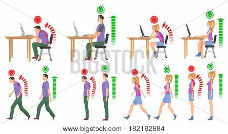 Man and woman in correct and wrong positions for spine. Vector illustration