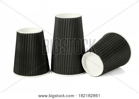 Three Disposable Black Paper Cups on White Background