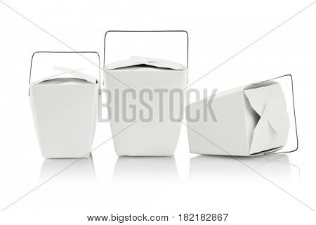 Three Takeaway Food Containers on White Background