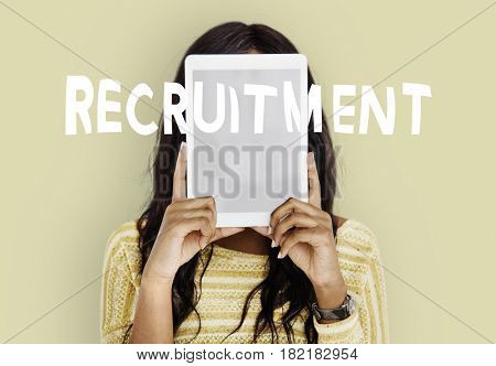 Woman cover her face work recruitment