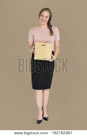Business Woman Smiling Holding Box