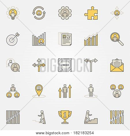 Career colorful icons set - vector collection of creative business and job symbols