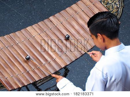 Thai Xylophone Played By Thai People.