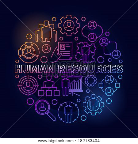 HR bright illustration. Vector colorful round recruitment sign made with phrase human resources and thin line icons on dark background