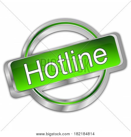 silver green Hotline Button - 3D illustration