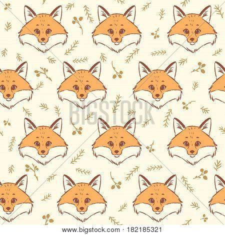 Seamless pattern with cute and fox. Cool stylish wallpaper. Vector illustration