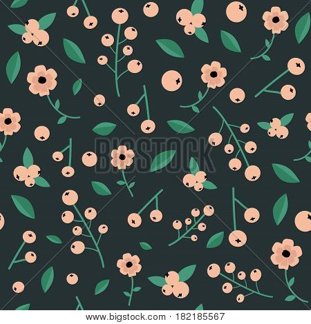 Unique botanical seamless pattern with white currant berries wild flowers leaves calico style. For textile scrapbooking gift wrapping paper tapestry handmade