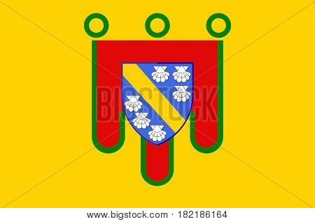 Flag of Cantal is a department in south-central France and is part of the current region of Auvergne-Rhone-Alpes with its capital at Aurillac