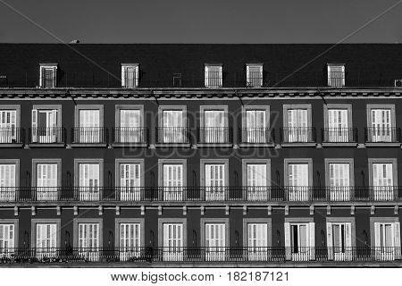 Madrid (Spain): historic Plaza Mayor the main square of the city. Black and white