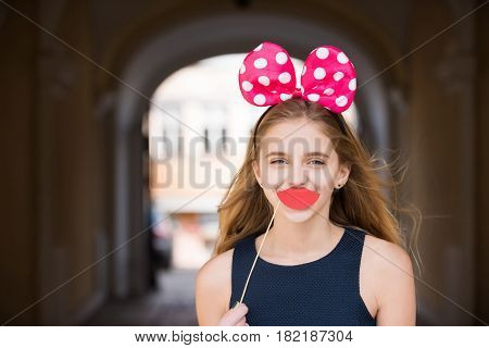 Happy Pretty Girl With Cute Mouse Ears And Red Lips