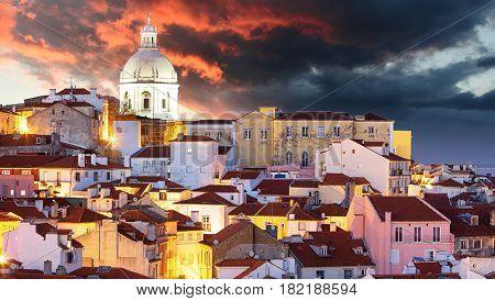 Lisbon at dramatic sunrise in a Portugal