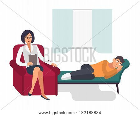 Psychotherapy concept. Patient, man with a psychologist. Colorful flat illustration