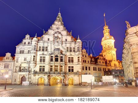 Dresden panorama at night with Hofkirche cathedral
